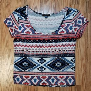 Aztec, Red white and blue CROPPED TEE, sz Lg